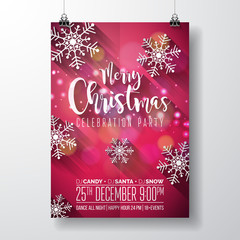 Vector Merry Christmas Party Design with Holiday Typography Elements and Snowflakes with long shadow on Red Background. Celebration Flyer Illustration.