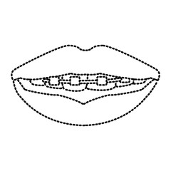 Teeth with brackets icon vector illustration graphic design