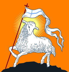 The Lamb of God with a banner
