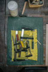 Arrange of instruments and tools in workshop