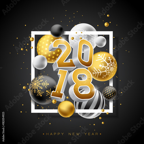 Happy new year 2018 illustration with gold 3d number and happy new year 2018 illustration with gold 3d number and ornamental ball on black background stopboris Image collections