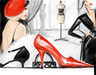 Fototapete - Shopping centre. Fashion illustration.