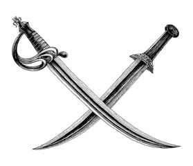 Crossed swords,Pirate symbol,Logo hand drawing vintage style isolate on white background