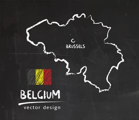 Belgium map, vector drawing on blackboard