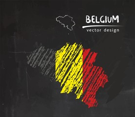 Belgium national vector map with sketch chalk flag. Sketch chalk hand drawn illustration