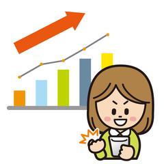 スマートフォンで投資をする女性(上昇)