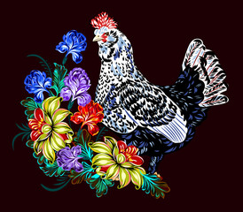 image of a beautiful chicken in flowers