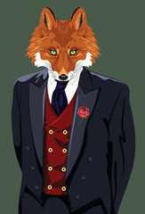 Portrait of fox in the men's business suit and hat