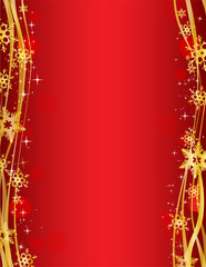 Christmas party background with gold decorative snowflakes