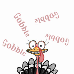 cute mascot illustration  turkey thanksgiving and gobble  text background