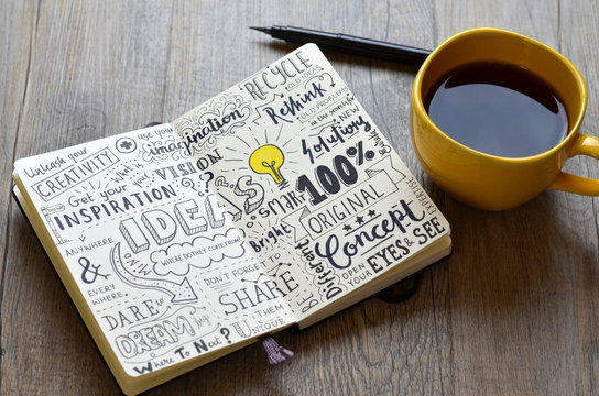 Handwritten sketch notes IDEAS in notepad on table with coffee and pen
