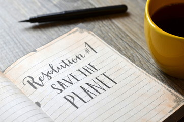 RESOLUTION No. 1 : SAVE THE PLANET brush calligraphy in notebook