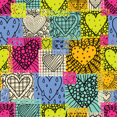 Love patchwork. Cute seamless pattern with love hearts.