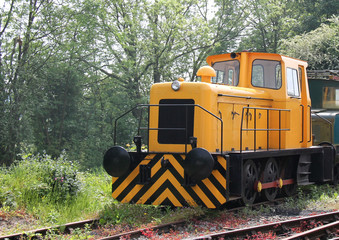 A Vintage Yellow Diesel Shunter Railway Train Engine.