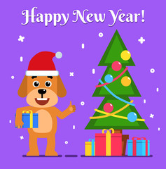 Cheerful dog holds gift box and stands near Christmas tree. Christmas, New Year greeting card. Flat style vector illustration