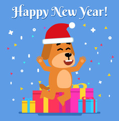 Cheerful dog jumps in front of gift boxes. Christmas, New Year greeting card. Flat style vector illustration
