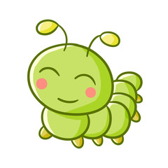 Cute and happy smiling green caterpillar - vector.