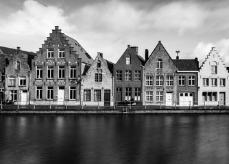 Old houses in Bruges (Brugge), Belgium. Black and white, long exposure photography