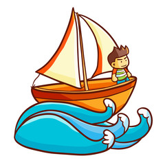 Cute and funny sailboat with man on it sailing on wave - vector.