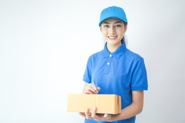 Young Asian Woman with Delivery service worker in uniform. Woman holding Box with attractive  smiling isolated on white background.+