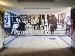 Mural (Graffiti) with street life in Kaunas, Lithuania