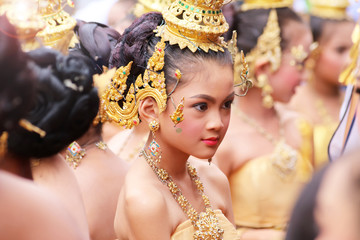 Beautiful asian girl wearing traditional Thai costumes