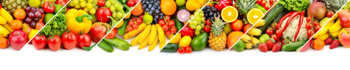 Panoramic collage of fresh fruits and vegetables isolated on white background.