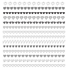 Hand drawn vector of black cute doodle heart border elements collection for love valentine getting card