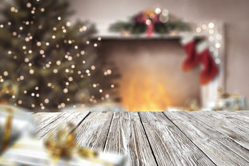 christmas time and desk of free space for your decoration.