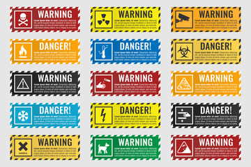 danger sign banner with warning text, vector illustration