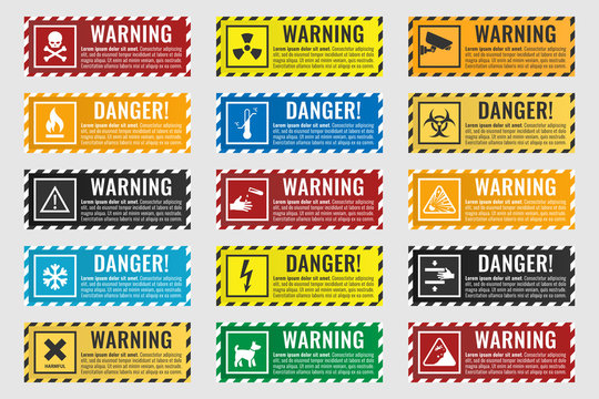 danger sign banner with warning text, vector illustration