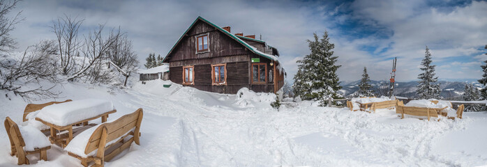 Panorama of the winter landscape in the mountains.