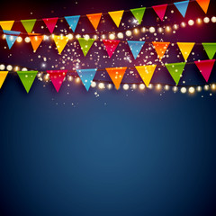 Beautiful blue Christmas vector background with colorful bunting party flags and shiny Xmas lights with empty copy space for your design