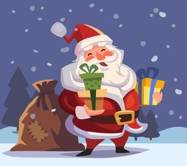 Cartoon Santa Claus with gifts in hands.