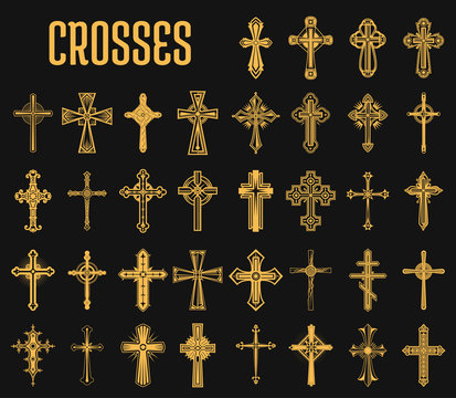 Set of isolated crosses of christian religion