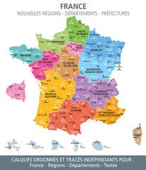 Carte de France, nouvelles régions, départements et préfectures-1