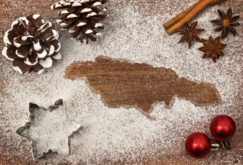Festive motif of flour in the shape of Jamaica (series)