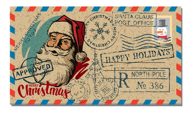 Christmas and New Year Postcard Wish.