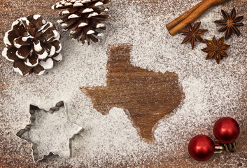 Festive motif of flour in the shape of Texas (series)