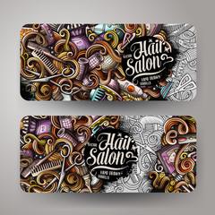 Cartoon colorful vector hand drawn doodles hair salon banners design
