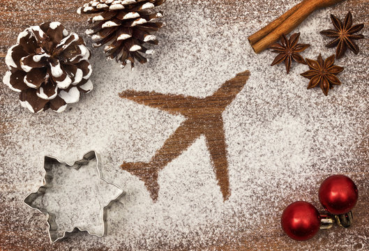 Festive motif of flour in the shape of an airplane (series)
