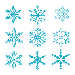 Snowflakes set vector illustration for element Christmas and New Year card.