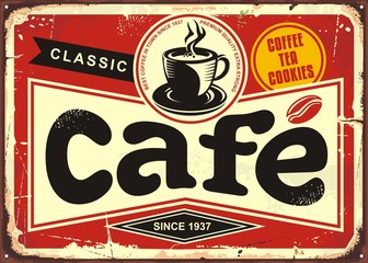 Cafe bar retro tin sign