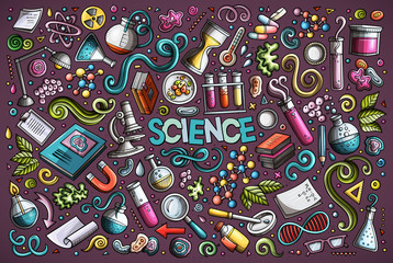 Vector cartoon set of Science theme objects and symbols