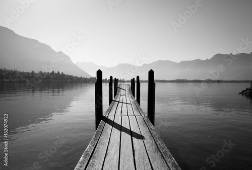 Canvas Prints black and white wooden bridge