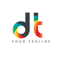 Initial Letter DT Design Logo
