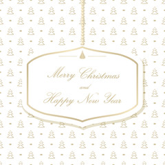 Hanging Christmas card on a background with Christmas trees. Merry Christmas and Happy New Year. Vector illustration.