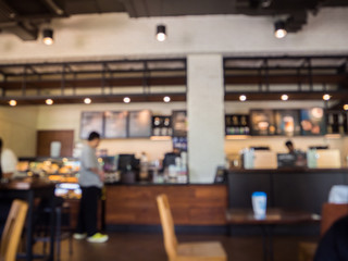 Abstract blurred background : interior of restaurant, coffee shop or cafe