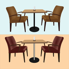 Set of furniture for bars and cafes (tables and chairs) isolated on a blue and yellow background