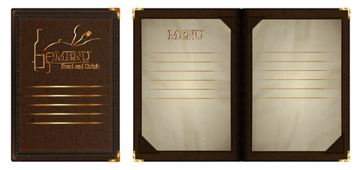 restaurant menu pattern gold from leather open notepad